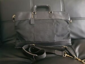 COACH VINTAGE LEATHER and fabric Black BRIEFCASE bag used