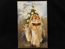 Antique Embossed Gold Gilded Germany Angel Cherub Christmas Tree Postcard