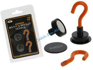 NGT Pack of Two Magnetic Bivvy Hooks with Backing Plates