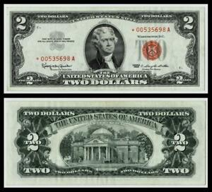 **STAR NOTE**1963 $2 RED SEAL UNITED STATES NOTE ~~CRISP~ABOUT UNCIRCULATED