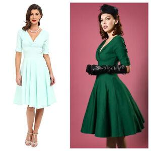 Unique Vintage DELORES 50s replica short sleeve swing dress SMALL, Halloween
