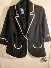 Women's Maurices Black/White Blazer - plus 2X 3/4 Sleeves