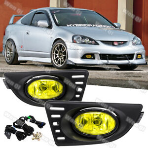 For Acura RSX 2005-2007 Yellow Lens Pair Bumper Fog Light Lamp w/Wiring+Switch