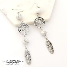 Boho Long Earrings Bohemian Hippie Gypsy Howlite Marble Tree Life Angel Wing