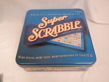 Scrabble Super tin more 200  tiles points spaces score sheet complete game