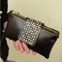 Hot  Women Lady Black Rivet Stud Handbag PU Leather Clutch Purse Wallet Card Bag
