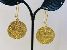 18K Gold on 925 Sterling Silver Coin Medallion Boho Earrings Tribal Ethnic Disc