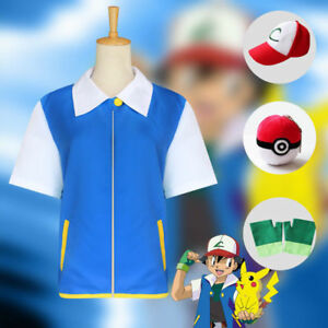 Pokemon Cosplay Costume Cosplay Ash Ketchum COS Jacket+Gloves+Hat+Poké Ball