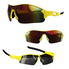 VeloChampion Warp Cycling Biker Sunglasses Outdoor Sports With 3 Lenses Yellow