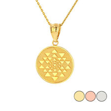 Solid Gold Or 925 Silver Yantra Tantric Indian Yoga Disc Circle Pendant Necklace