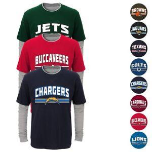 "NFL Outerstuff  ""Bleachers"" Long Sleeve Faux Layer T-Shirt Toddler Boys Youth SZ"
