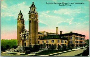 """1910s Seattle, WA Postcard """"ST. JAMES CATHEDRAL, Ninth Ave. & Columbia St."""""""