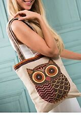 NAMASTE Fair Trade Oatmeal Cute Owl Shoulder Bag Tweed School or Shopping Bag