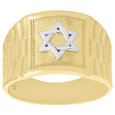 10K Yellow Gold Two Tone Star of David / Shield Symbol Statement Ring 14mm Band