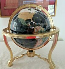 Large Blue Lapis Gemstone Globe in Brass/Metal Stand, Gorgeous, Excellent, 1 mar