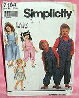 Uncut Simplicity Girls 7-14 Easy Jumpsuit Jumper or Sundress & Top Pattern 7184