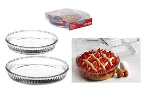 Glass Pie Tart Dish Round Deep Quiche Flan Dish Fluted Baking Oven Safe 26/32cm