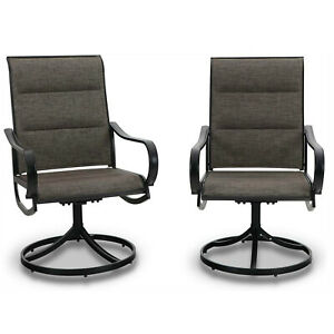 Swivel Patio Dining Chair Set of 2 Metal Rock Chairs High Back Outdoor Furniture