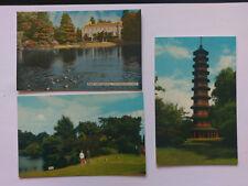 3 Kew Gardens Vintage colour Postcards c1970 Pagoda, Museum & Lake
