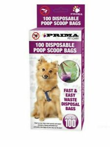 100 x DOGGY BAGS Dog Cat Puppy Pet Poo Waste Easy Tie Scooper Poop Disposal41067