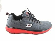 Skechers gel top memory foam mens 11.5M red gray tennis running sneakers shoes
