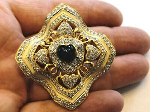 Spilla cuore vintage Vogue Bijoux strass cristalli lapislazzuli voguebijoux