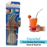 DuraChef 21cm Stainless Steel Drinking Straws & Brush Set Reusable Sustainable