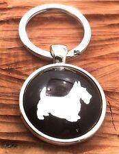 Adorable Scottish Terrier Scottie Dog Key Holder Or Purse Charm Rhodium plated
