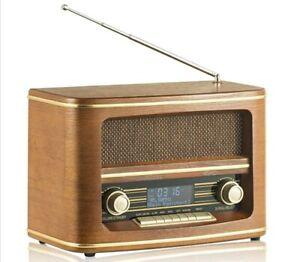 Nostalgie Digitalradio DAB+ FM Radio Holz Retro Design UKW-Radio großes Display