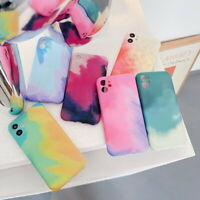 For iPhone 12 11 Pro Max XR XS X 8 7 6 Plus Watercolor Matte Silicone Case Cover