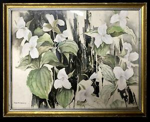 WATERCOLOR Painting ~ GRANT MACDONALD ~ 1965 Rare EARLY WORK Trillium FLOWERS