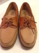 Life Outdoors Mens Sz 13D Tan/Rust Color Leather Boat Shoes 3-Eyelet Tie EUC