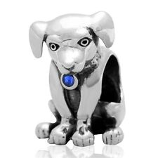 925 Solid Sterling Silver Dog Charm Bead With Blue Coloured Cubic Zirconia Stone