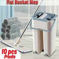 Self Cleaning Drying Wringing Mop Bucket System Flat Floor +10 Microfiber Pad
