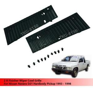 Finisher Wiper Cowl Vent Grille Set Fit For Nissan Navara D21 Pickup 1993 - 1998