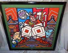 "Clifton Karhu Figures Print Furoshiki Fabric Black Lacquer Wood Frame 35"" x 35"""