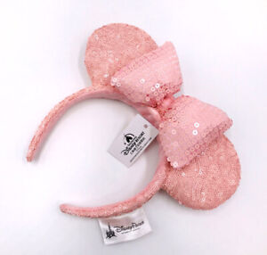 Mickey Mouse Sequins Minnie Ears New Bow Millennial Pink Disney Parks Headband