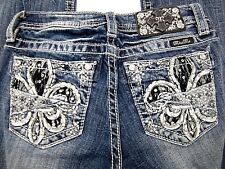NWT Miss Me Boot Cut Denim Girls Jeans Junior (JK8438B2)  CUTE  Size 8x27