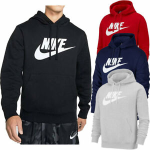 Mens Nike Hoodie Fleece Black Signature Print Logo Pullover Hooded S M L XL