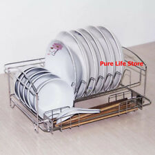 2 Tier Dish Drying Rack Stainless Steel Cutlery Drainer Tray Holder Dish Rack