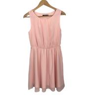 Boohoo Size 10 Pink Sleeveless Elasticated Waist Knee Length Lined Shift Dress