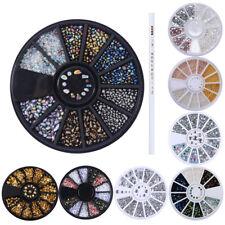 9Pcs Kit Nail Art Rhinestones/Stones/Beads/Studs 3D Decoration & Picker Wax Pen