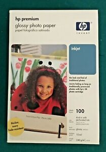 HP Premium Glossy Inkjet 4x6 Photo Paper 100 Sheets Genuine Q1990A - NEW