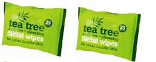 2 X 25 Tea Tree Facial Wipes Daily Use for Healthy Skin Remove Makeup