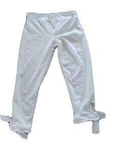 Free People Leggings M/L White Cropped Tie Leg Pants Medium Or Large FP Capri