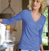 Soft Surroundings Shapely Surplice Wrap Top Womens Medium Stretch Blue