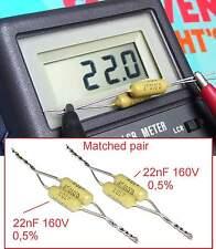 2 Condensateurs MULLARD MUSTARD C296 NEUFS 22nF 0,5% - 160V - 0.022uF - 22000pF