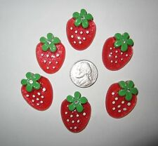6 NEW STRAWBERRY FLAT BACK RESINS CABOCHONS FOR HAIR BOWS *SHIPS FREE* *USA*