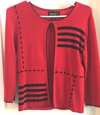 Finity Women's Cardigan/Sweater/Jacket Size SMALL Red Black