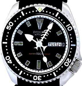 "Vintage Mens Watch SEIKO 6309 Diver Mod w/White ""Fishbone"" & ""Egg"" SS Hands Set"